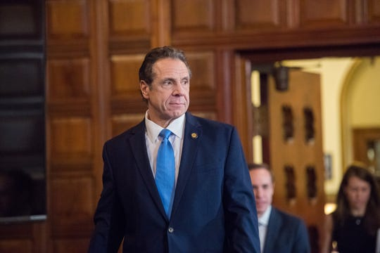 Gov. Andrew Cuomo entered the Red Room at the state Capitol on March 15, 2020, to give a daily briefing on the spread of coronavirus.