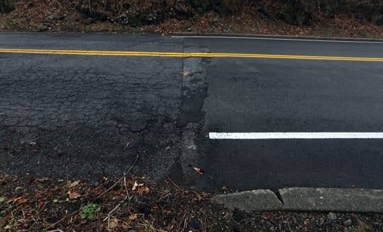 The good pavement on Hawkes Ave. comes to an abrupt end at the Ossining-New Castle border March 20, 2020.