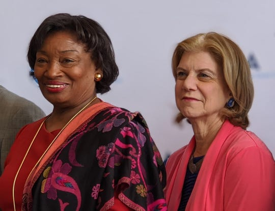 State Sen. Shelley Mayer, D-Yonkers, right, with Senate Majority Leader Andrea Stewart-Cousins.