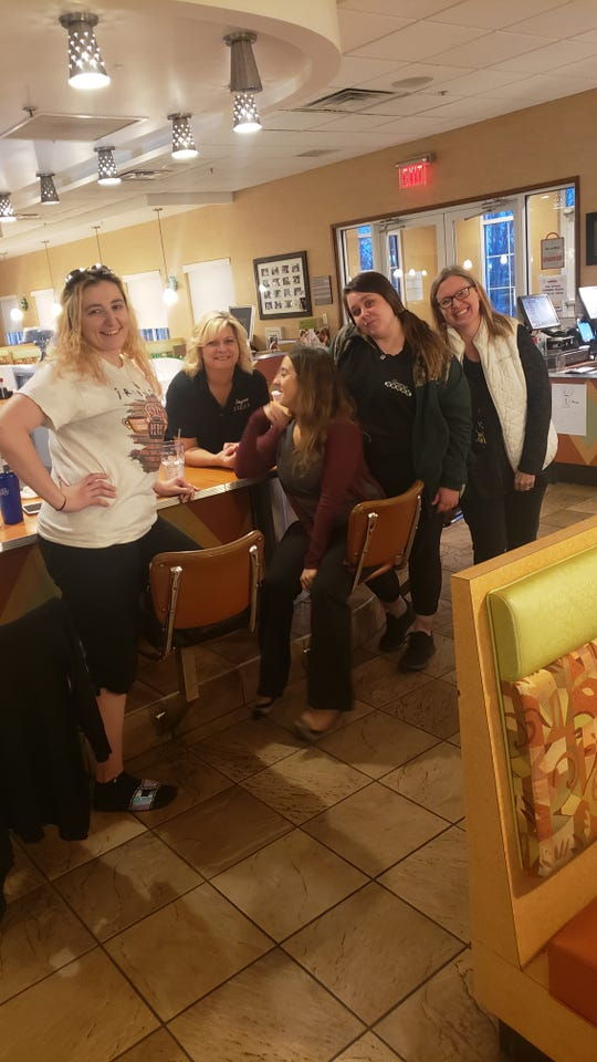 Staff at the Smyrna Diner get ready Friday to handle full menu take-out and other orders: From left, Ashley White, Verna Woodard, Miranda DiMaio, Samantha Rowlands and owner Jamie Compton.,