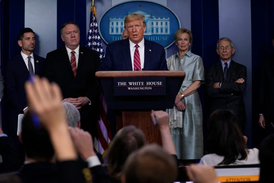 President Donald Trump speaks during a coronavirus task force briefing at the White House on Friday.