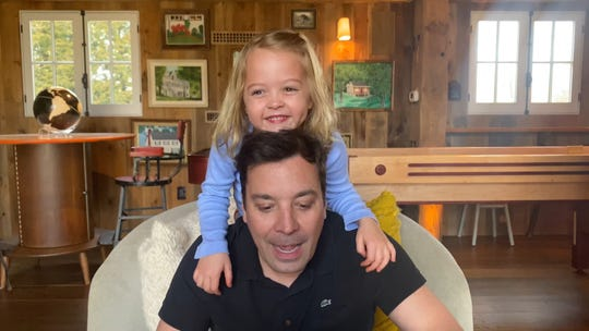 """Jimmy Fallon seen taping """"The Tonight Show at 真人百家家乐官网网站home"""" with his daughter, Frances."""