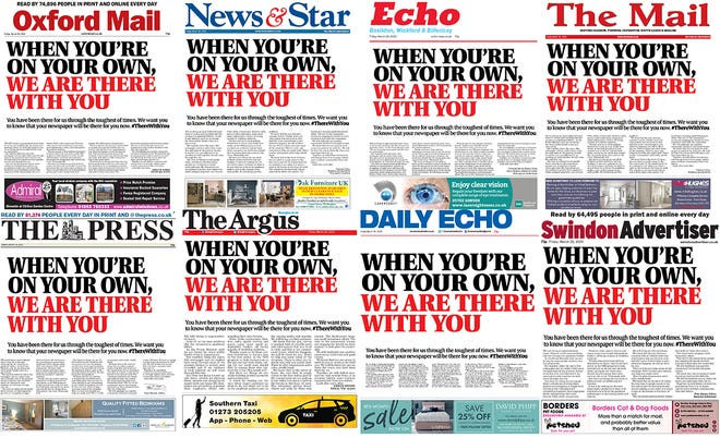 Dozens of UK newspapers ran the same front page on Friday on lunch the #ThereWithYou campaign.