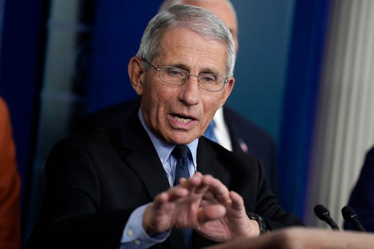 Dr. Anthony Fauci, the director of the National Institute of Allergy and Infectious Diseases, speaks at a press briefing with the coronavirus task force on March 17, 2020.