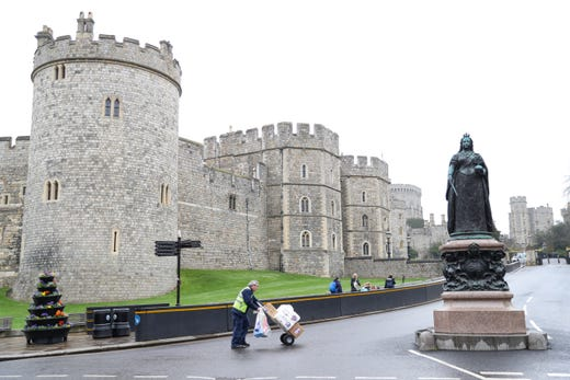 The streets surrounding the castle are quieter than usual at Windsor Castle on March 19, 2020 in Windsor, England.