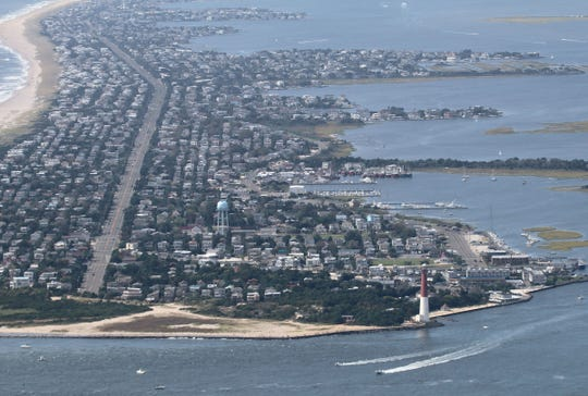A southward of homes on Long Beach Island looking south from Barnegat Light early Sunday, September 1, 2019.