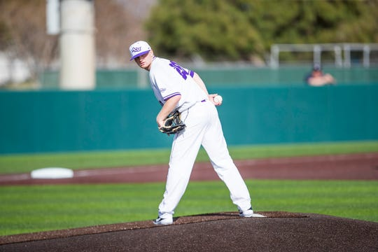 ACU pitcher Spencer Chirpich looks back a runner during a game. The senior had his season cut short because of the coronavirus epidemic, but he plans on returning for another season if the NCAA grants senior another year of eligiblity.