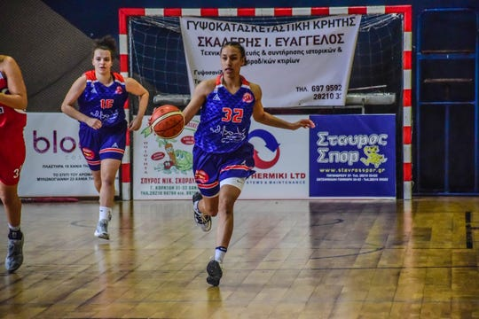 Miranda Drummond in action playing pro basketball in Greece.