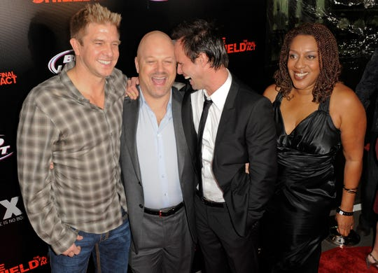 Casts members of The Shield, from left, actors Kenny Johnson, Michael Chiklis, Walton Goggins and CCH Pounder during the arrivals of the season seven finale screening.