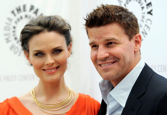 "Emily Deschanel, left, and David Boreanaz, cast members in the television series ""Bones,"" pose together at ""An Evening with Fox's 'Bones.'"""