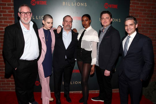 "Brian Koppelman, Asia Kate Dillon, Paul Giamatti, Condola Rashad, Toby Leonard Moore and David Levien attend Showtime's ""Billions"" season 3 premiere party."