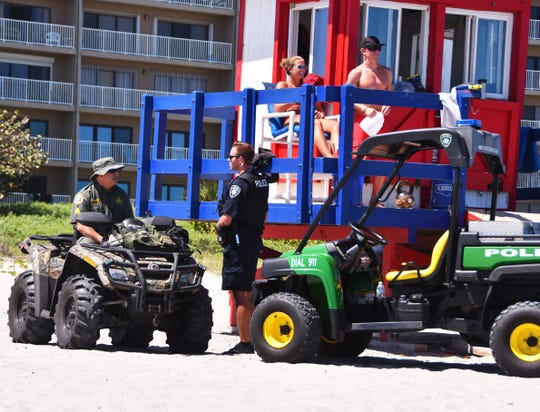 There was a police presence on the beach with rangers, police and deputies on four wheelers patrolling. With an alcohol ban on the beaches and limited parking access, Spring Break in Brevard is not what is usually is.