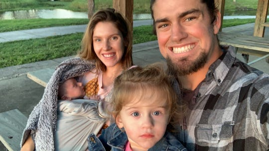 Dylan Reda with his wife, Lauren; daughter Leia, 2; and son Atlas, 3 months.