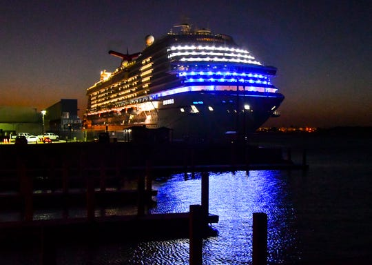 The Carnival Breeze is the first ship to ever dock at the new Cruise Terminal 3. With more cruise ships than berths, the cruise ships have been rotating terminals at the port with one cruise ship anchored off shore