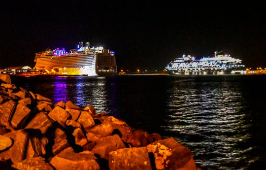The Norwegian Epic and Carnival Magic were anchored offshore at Port Canaveral recently, as the cruise industry remains out of operation because of the coronavirus pandemic.