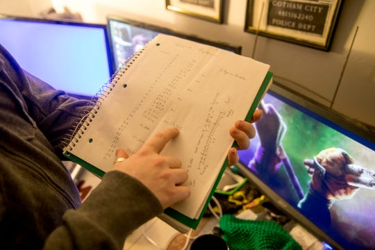 Bobby Gordon shares the detailed notes he started to estimate his own numbers for COVID-19 coronavirus spread as he followed the outbreak as a way to ease himself and confront it straight on at the Gordon household in Clarksville, Tenn., on Friday, March 20, 2020.
