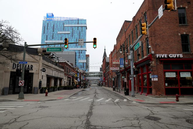 Greektown normally a popular hang out in Detroit stands empty due to the coronavirus pandemic Thursday, March 19, 2020.