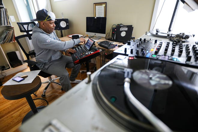 """DJ Eddie Fowlkes has been streaming live while he spins techno during what he calls his """"Midnight Sessions"""" from his home studio in Grosse Pointe Farms, Mich. Photographed on Friday, March 20, 2020. Fowlkes canceled his European shows because of the coronavirus."""