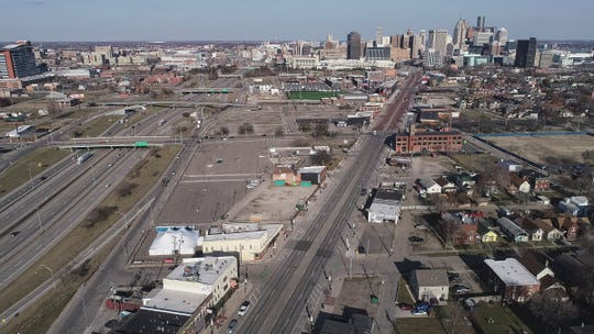 Aerial photo of 5:30pm traffic on I-75, Michigan Avenue from Corktown, Detroit, Tuesday, March 17, 2020.