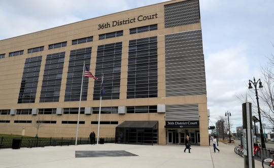 The 36th District Court building in Detroit is still open but with less activity due to the coronavirus pandemic Friday, March 20, 2020.