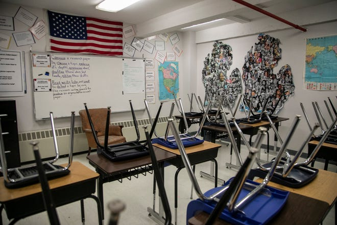 A classroom sits empty at the Cesar Chavez Academy High School as the Coronavirus threat makes it risky for large groups to congregate Friday, March, 13, 2020.