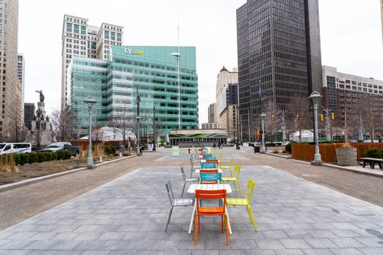 An empty Cadillac Square in downtown Detroit is seen on Tuesday, March 17, 2020.