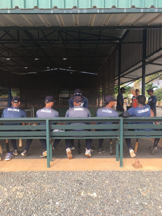 Players at the Tigers' D.R. academy sit in the batting cage on Tuesday, March 10, 2020. Left-to-right: Outfielder Jose Reina, shortstop Yoan Bravo, shortstop Antonio Dominguez, shortstop Cesar Calderon, outfielder Iverson Leonardo.