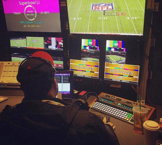 Michael Abdella at his station inside the production truck working instant replay at Super Bowl LI between the Patriots and Falcons.