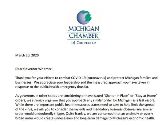 Michigan Business Groups Urge No Blanket Stay At Home Order