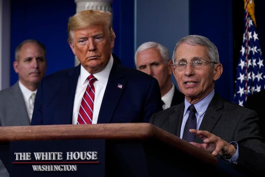 President Donald Trump listens as Director of the National Institute of Allergy and Infectious Diseases Dr. Anthony Fauci speaks during a coronavirus task force briefing at the White House, Friday, March 20, 2020, in Washington.