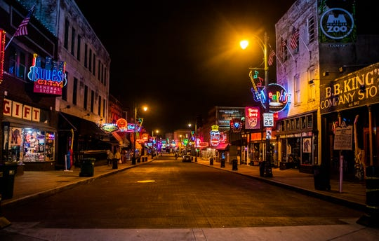 A quiet night on Beale Street in Downtown Memphis, Tenn., on Friday March 20, 2020.