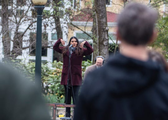 """Mezzo-soprano singer Tahanee Aluwihare performs to a crowd during the Opera Memphis """"Sing to Me"""" concert in Harbor Bend Road on Mud Island on Saturday March 21,2020. Opera Memphis wants residents to practice social distancing  while enjoying a live show."""