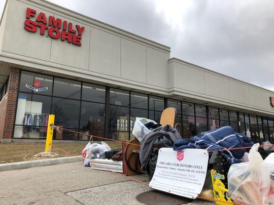 Although the  Salvation Army Family Store and Donation Center on 27th Street and College Avenue's parking lot was closed Saturday, people still dropped off donations.