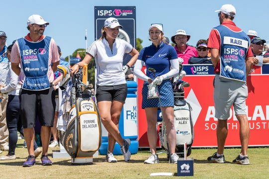 Perrine Delacour of France and Marina Alex of the USA share some laughter while they wait to tee off from the 1st during day four of the 2020 ISPS HANDA Women's Australian Open at Royal Adelaide Golf Club on February 16, 2020 in Adelaide, Australia.