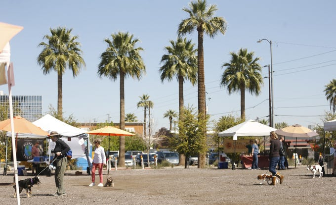 Vendors are spaced to allow for social distancing at the Downtown Phoenix Farmer's Market on March 21, 2020.