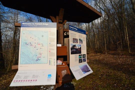 Stop at the trail kiosk before heading up Fishkill RIdge.