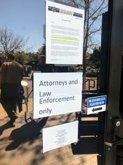 This door of the Shasta County Jail where visitors typically sign in has been closed off as jail visits were suspended on March 13, 2020 due to the coronavirus crisis. Photo taken Friday, March 20, 2020.