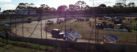Sprint cars push off for hot laps at Simpson Speedway outside Colac, Australia.