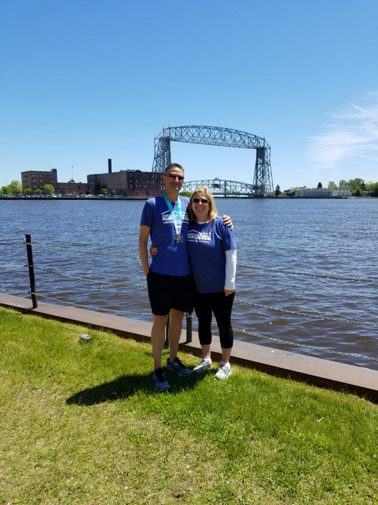 Dylan Merriman (left) has been a runner for a long time and Pamela Bokelman (right) signed up for her first 5K to run with Merriman during the Earth Day Run that's been postponed to September.