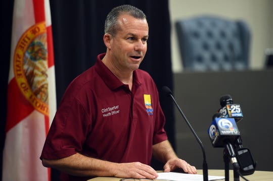 Clint Sperber, with the Florida Department of Health  in St. Lucie County, addresses the media at a news conference on Saturday, March 21, 2020, to update the public on local testing for the coronavirus. Sperber confirmed  the first case of COVID-19, or novel coronavirus, in St. Lucie County, a man, 56, who has not traveled recently.