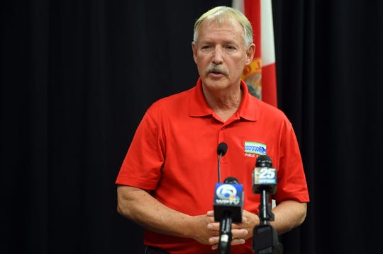 "St. Lucie County Administrator Howard Tipton addresses the media at a news conference on Saturday, March 21, 2020, to update the public on local testing for the coronavirus. ""The big message continues to be, maintain yourselves at home,"" Tipton said."