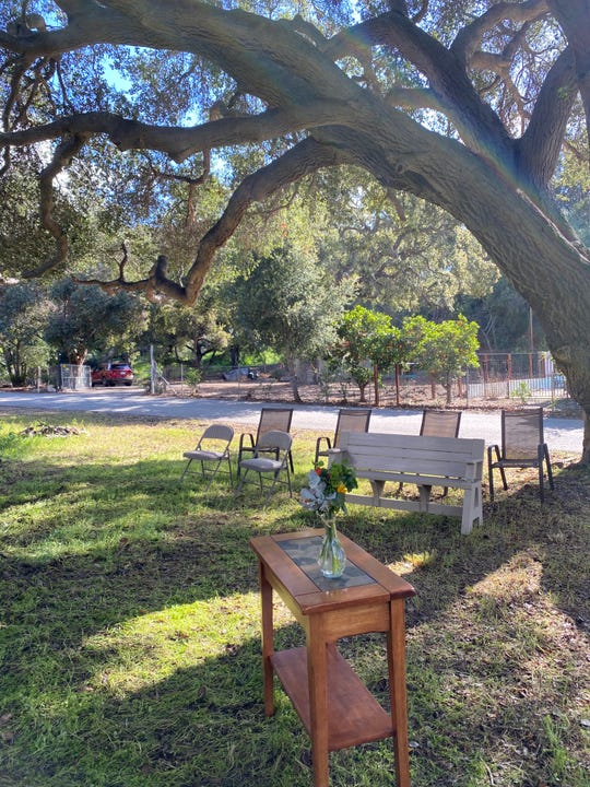 The spot set up for a wedding at Lisa and Jeff Daniel's Santa Paula home.