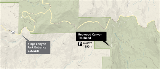 A map shows open areas of Kings Canyon National Park as of Saturday, March 21.
