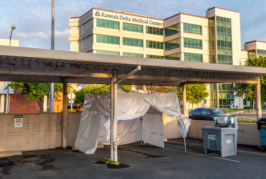 Kaweah Delta has set up three nasal swab sample collection tents near the main building for patients approved by the County for testing. These are in addition to larger tents used for screening on the Mineral King side of the hospital.