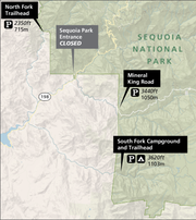 A map shows open areas of Sequoia National Park as of Saturday, March 21.
