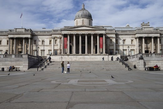 A general view of Trafalgar Square on March 21, 2020 in London, England. Londoners are feeling the impact of shutdowns due to Coronavirus.