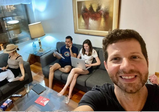 Jared Anderson and a group of other Americans, Lindsay Stork, Sapan Shah, and Alecia Chinai, are holed up in a hotel in Lima, Peru, after the government closed the borders in response to the coronavirus scare. Anderson says hundreds of Americans are stuck in the country. on March 20, 2020.