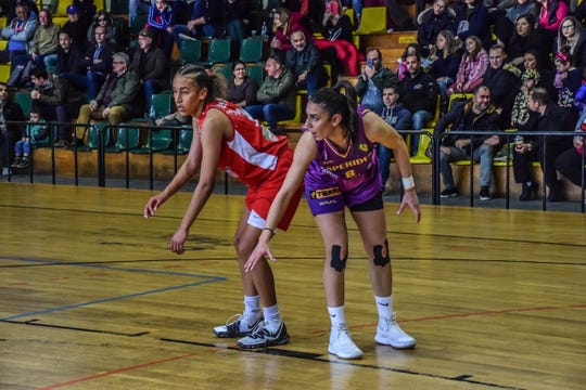 Miranda Drummond in action during game in Greece.
