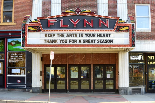 The marquee of the Flynn Center for the Performing Arts on Main Street in Burlington sends a message of hope on Sunday, March 22, 2020. The Flynn's season has been cancelled due to the outbreak of COVID-19.