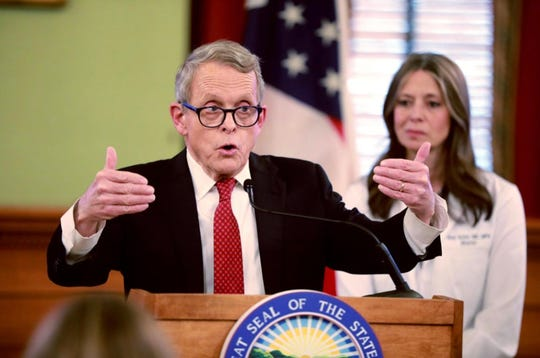 """Ohio Gov Mike DeWine said the state is considering action against a business allegedly violating the """"stay-at-home"""" order."""